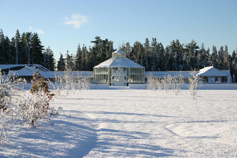 Et stort frittstående åttekantet drivhus med to doble lobbyer i offwhite